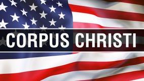 Corpus Christistad på en USA flaggabakgrund, tolkning 3D USA flagga som vinkar i vinden stolt amerikanska flaggan royaltyfri illustrationer