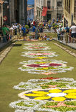 Corpus Cristi in La Orotava. People working in the streets of the Orotava on the day of the carpets of flowers in the Corpus Cristi. It is an editorial image stock photo