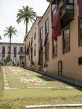 Corpus Cristi in La Orotava. People working in the streets of the Orotava on the day of the carpets of flowers in the Corpus Cristi. It is an editorial image royalty free stock image