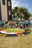 Corpus Cristi in La Orotava. People working in the streets of the Orotava on the day of the carpets of flowers in the Corpus Cristi. It is an editorial image stock image