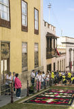 Corpus Cristi in La Orotava. People working in the streets of the Orotava on the day of the carpets of flowers in the Corpus Cristi. It is an editorial image royalty free stock photo