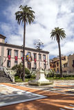 Corpus Cristi in La Orotava. People working in the streets of the Orotava on the day of the carpets of flowers in the Corpus Cristi. It is an editorial image royalty free stock images