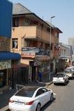Corra abajo de edificios en el distrito financiero central, Johannesburgo, Suráfrica Fotografía de archivo