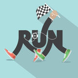 Corra com projeto da tipografia dos pés Imagens de Stock