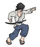 Corra o samurai Imagem de Stock