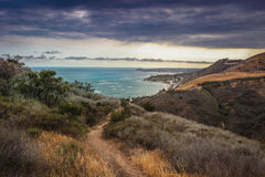 Corral Canyon Malibu Trail. Dramatic clouds and coastline view of the Pacific Ocean from the Corral Canyon trail in Malibu, California Stock Image