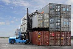 Corral con el contenedor para mercancías Imagen de archivo