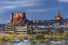 Corral de vallée et de cheval de monument images libres de droits