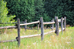 Corral fense in meadow. Old wooden rural corral fense in meadow Stock Photo