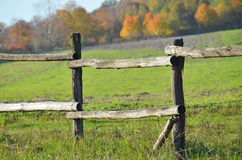 Corral fense in meadow Royalty Free Stock Images