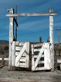 Corral Gate. An old corral gate to the cattle livestock auction stock yards.  Okanogan, Washington Stock Photography