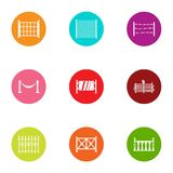 Corral icons set, flat style. Corral icons set. Flat set of 9 corral vector icons for web isolated on white background royalty free illustration