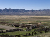 Corral and ranch land in north central Nevada. Corral and mountain backdrop on a Northern Nevada ranch Stock Photo