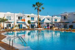 Swimming pool of the hotel complex Arena Hotel in Corralejo, Spain Royalty Free Stock Photos