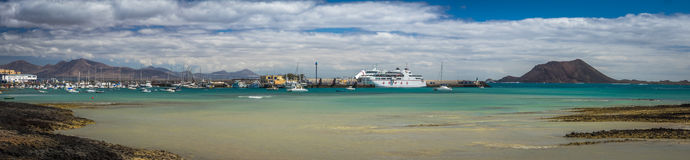 Corralejo harbour panorama Royalty Free Stock Images
