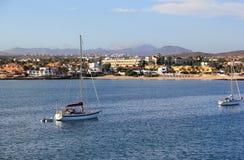 Corralejohaven, Fuerteventura, Canarische Eilanden. Royalty-vrije Stock Foto