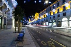Corraterie街道在晚上 免版税库存照片