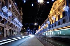 Corraterie街道在晚上 库存照片