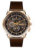 Correa de cuero del marrón del cronógrafo del reloj de oro en el vector blanco del fondo Fotos de archivo