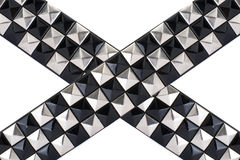 Correa de cuero negra con los postes del cromo Imagen de archivo