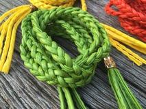 Correa de cuero verde de la torsión de la cuerda Imágenes de archivo libres de regalías