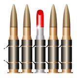Correa de la bala de la ametralladora con el substituto rojo del lápiz labial libre illustration