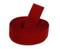 Correa en espiral del rojo del karate Foto de archivo libre de regalías