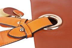 Correa marrón 3 del bolso de cuero de las mujeres Imagen de archivo libre de regalías