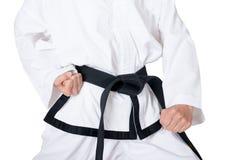 Correa negra de Taekwondo Imagen de archivo libre de regalías