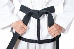 Correa negra de Taekwondo Fotografía de archivo