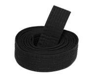 Correa negra del karate en espiral Foto de archivo