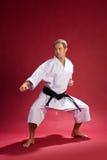 Correa negra del karate en kimono imagen de archivo libre de regalías
