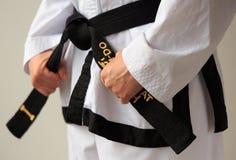 Correa negra del Taekwondo Imagen de archivo libre de regalías