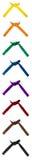Correas anudadas del karate fijadas de ocho Imagen de archivo