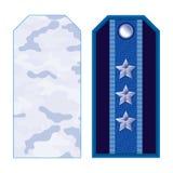 Correas de hombro militares azules Imagenes de archivo