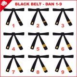 Correas negras de los artes marciales del símbolo. Foto de archivo libre de regalías