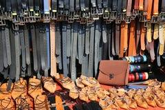 Correas y sandalias del cuero Imágenes de archivo libres de regalías