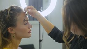 Corrección de la ceja El Cosmetologist pone la pintura en las cejas del ` s del cliente con el cepillo almacen de metraje de vídeo