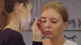 Corrección de las cejas en el salón de belleza metrajes