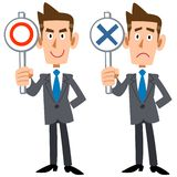 A businessman shows answers. The image of A young businessman shows answers correct and incorrect vector illustration