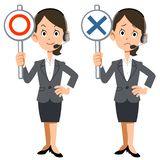 A woman in Call center shows Correct answer and Incorrect. The image of a woman in Call center shows Correct and Incorrect answers vector illustration