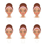 Correct application of blush. Vector Illustration Royalty Free Stock Image