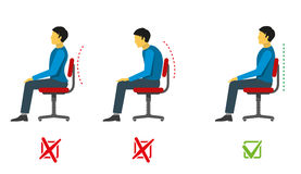 Correct and bad sitting position. Vector medical infographics. Position sit right, position sit incorrect, spine person sit correct, wrong position, medical Stock Photos