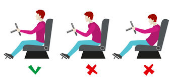 Correct and bad sitting postures for driver. Vector infographics Royalty Free Stock Image