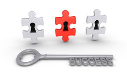 Correct choice for success. Three puzzle pieces with keyholes and a key of success Stock Photo
