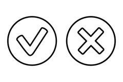 CORRECT et décommandez le bouton de Web de vecteur d'icône illustration stock