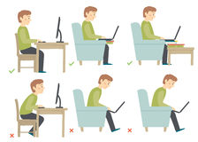 Correct and Incorrect Activities Posture in Daily Routine - Sitting and Working with a Computer. Man haracter. Cartoon vector hand drawn eps 10 illustration Stock Photos