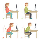 Correct and Incorrect Activities Posture in Daily Routine - working. Correct and incorrect sitting posture at computer. Cartoon vector hand drawn eps 10 Royalty Free Stock Photos