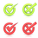 Correct and incorrect check marks in circle. 3D Royalty Free Stock Photo