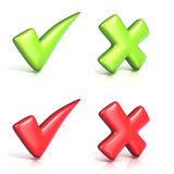 Correct and incorrect check marks. 3D Stock Photography